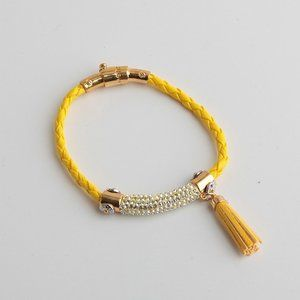 Henri Bendel Zircon Leather Tassel Bracelet